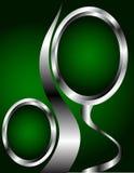 Escuro - molde do verde e do cartão da prata Imagens de Stock Royalty Free