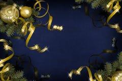 Escuro - Natal azul Imagens de Stock Royalty Free
