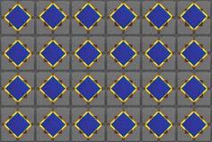 Escuro - o diamante azul com incandescência afia o quadro amarelo no fundo do cimento Foto de Stock Royalty Free