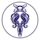 Escuro - pendente azul dos cavalos marinhos Imagens de Stock