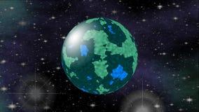 Escuro - planeta azul e verde no espaço Vídeo da ficção científica do cosmos, 3d gerado por computador ilustração royalty free