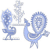 Escuro - pássaros fantásticos azuis, vec Foto de Stock Royalty Free