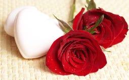 Escuro - rosas vermelhas com gotas da água fotografia de stock royalty free