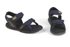 Escuro - sandálias azuis da cor Fotografia de Stock Royalty Free
