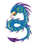 Escuro - serpente azul ilustração do vetor