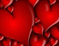 Escuro - teste padrão vermelho do fundo dos corações Imagem de Stock Royalty Free