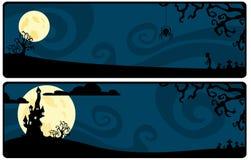 Escuro - tira azul em um tema de Halloween ilustração royalty free