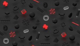 Escuro torne o fundo abstrato do teste padrão de memphis projeto colorido da tampa da textura 3d moderna vermelha e transparente  ilustração do vetor