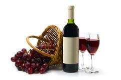 Escuro - vinho vermelho na parte traseira do branco Fotografia de Stock Royalty Free