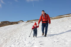 Escursione del bambino e del padre Fotografie Stock Libere da Diritti