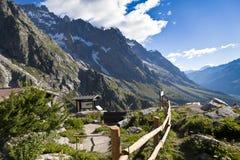 Escursione del fondo vicino a Mont Blanc, alpi occidentali europee Immagini Stock Libere da Diritti