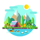 Escursione del lago delle montagne della tenda del paesaggio di estate Fotografie Stock