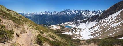 Escursione del percorso al lago dello schlappold, alla montagna del fellhorn ed all'alpe di allgau Immagini Stock Libere da Diritti
