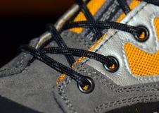 Escursione del primo piano degli stivali con i laccetti Fotografia Stock Libera da Diritti