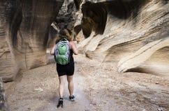 Escursione del Willis Creek Slot Canyon Fotografia Stock
