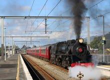 Escursione dello speciale del treno a vapore della Nuova Zelanda Fotografia Stock Libera da Diritti