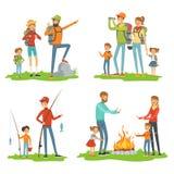 Escursione felice della famiglia Bambini di viaggio con i loro genitori Illustrazioni di campeggio e del viaggio stradale illustrazione di stock