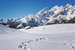 Escursione sui percorsi nevosi Fotografia Stock Libera da Diritti
