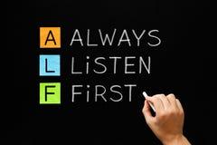 Escuta sempre primeiro ALF Concept imagens de stock royalty free