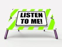 Escutam-me os meios do sinal que ouvem a escuta e Imagem de Stock Royalty Free