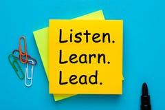Escute aprendem a ligação foto de stock royalty free