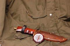 Escuteiros do menino do vintage do compasso de América com caça Fotos de Stock