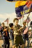 Escuteiros do menino na parada Fotografia de Stock