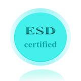 ESD аттестовал дизайн концепции значка или изображения символа с делом стоковые фото