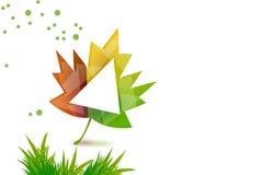 esdoornblad met driehoek en graslinkerkant, abstrack achtergrond Royalty-vrije Stock Afbeelding