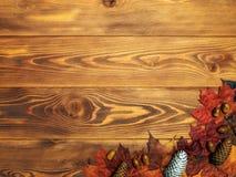 Esdoornbladeren op de houten raad De achtergrond van de herfst Rode en oranje het bladclose-up van de kleurenKlimop stock afbeelding