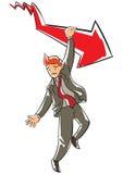 Esecutivo aggrottante le sopracciglia che appende su una freccia rossa di caduta Immagine Stock Libera da Diritti