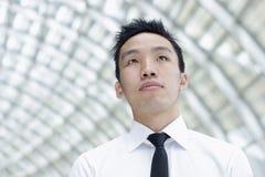 Esecutivo maschio asiatico che osserva in su Fotografia Stock