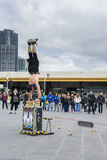 Esecutore della via che esegue al quadrato di federazione a Melbourne Immagine Stock Libera da Diritti