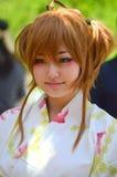 Esecutore di Kabuki del giapponese in costume Fotografia Stock Libera da Diritti