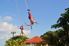 Esecutori dell'acrobata di Voladores agli uomini di volo Fotografia Stock Libera da Diritti