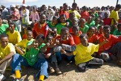 Esecutori etiopici che celebrano Giornata mondiale contro l'AIDS Fotografia Stock Libera da Diritti