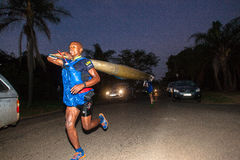 Esecuzione non della maratona della canoa di Dusi di arresto Fotografia Stock Libera da Diritti