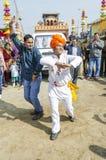 Esecuzione tribale indiana del ballerino Immagine Stock Libera da Diritti