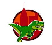 Eseguire Dino And Big City Background Immagini Stock
