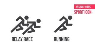 Eseguire icona, icona di vettore della corsa di relè Metta della linea icone di vettore di sport pittogramma dell'atleta illustrazione vettoriale