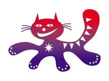 Eseguire il gatto positivo felice del fumetto divertente del gatto che assorbe i colori rossi e porpora fotografia stock libera da diritti