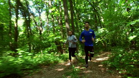 Eseguire pareggiare nell'addestramento della donna della foresta, funzionamento, pareggiante, forma fisica, video di runner-4k archivi video