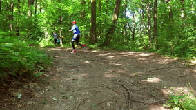 Eseguire pareggiare nell'addestramento della donna della foresta, funzionamento, pareggiante, forma fisica, video di runner-4k video d archivio