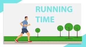 Eseguire uomo, tempo di funzionare Un uomo che corre nel parco illustrazione vettoriale