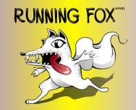 Eseguire volpe spaventata Illustrazione della volpe bianca del fumetto su fondo giallo Fotografia Stock
