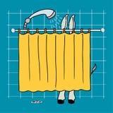 Esel in einer Dusche Stockfotos