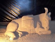 Esel gemacht im Sand lizenzfreie stockfotos