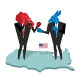 Esel- und Elefantkampf Demokrat und republikanische Opposition B Lizenzfreie Stockfotografie