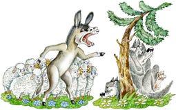 Esel verteidigt Schafe Stockbild