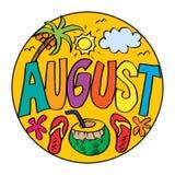 Esempio di colore August Coloring Pages per i bambini Illustrazione Vettoriale
